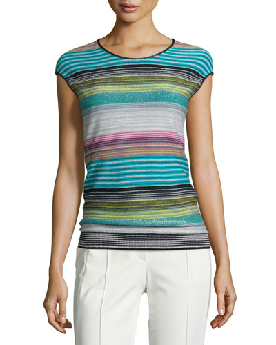 Striped Cap-Sleeve Knit Sweater, Cerulean