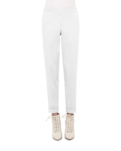 Manuela Cuffed Straight-Leg Pants, Moonstone