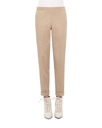 Manuela Stretch-Cotton Pants, Camel
