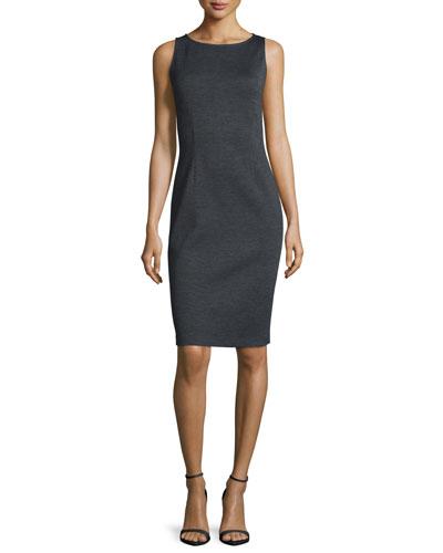 Milano Bateau-Neck Sheath Dress, Hematite Melange