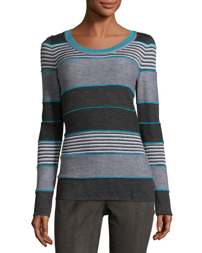 Striped Jewel-Neck Sweater, Peacock/Multi