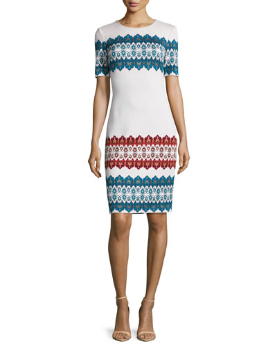 Jacquard Jewel-Neck Short-Sleeve Dress, Alabaster/Multi