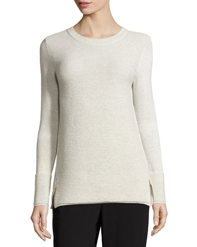 Ottoman-Stitch Knit Crewneck Sweater, Putty Melange