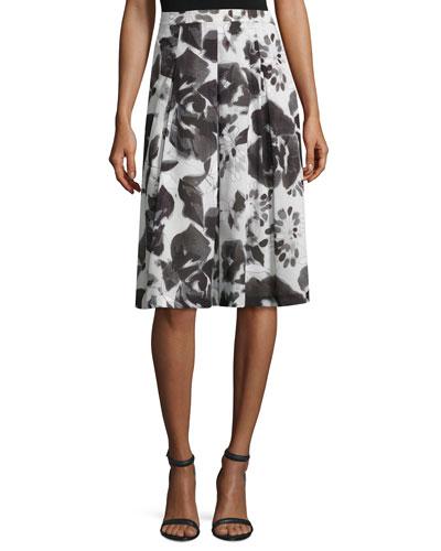 Rose-Print Pleated A-Line Skirt, Alabaster/Multi