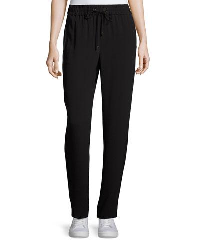 Lightweight Crepe Drawstring Pants, Caviar