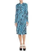 Printed V-Neck Long-Sleeve Dress, Cobalt