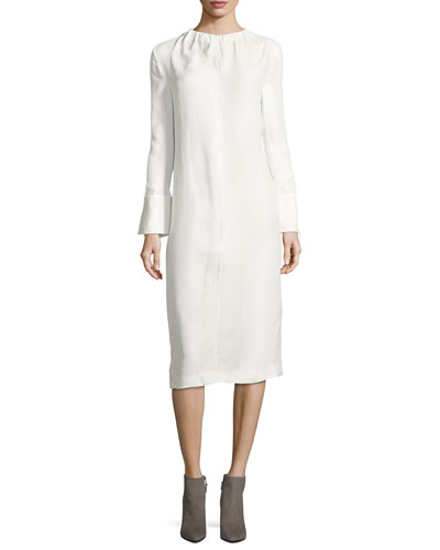 Gathered-Neck Poplin Midi Dress, Lily White