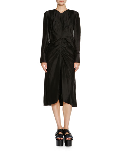 Long-Sleeve Ruched-Waist Dress, Black