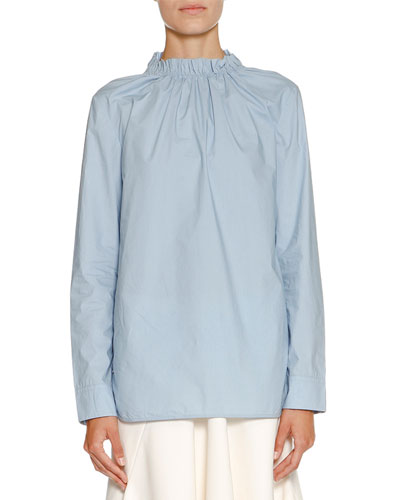 Ruched Stand-Collar Blouse, Sky