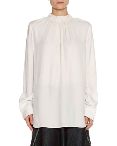 Ruched Stand-Collar Blouse, Stone White