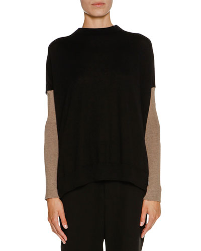 Cashmere Bow-Back Sweater, Black