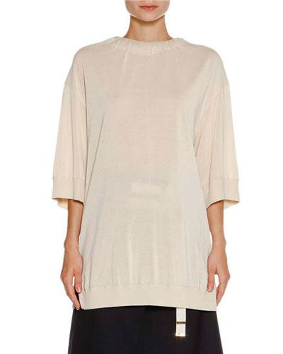 3/4-Sleeve Bow-Back Sweater, Limestone