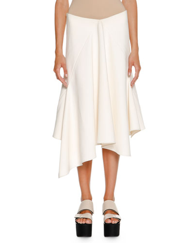 Handkerchief-Hem A-Line Skirt, Ivory
