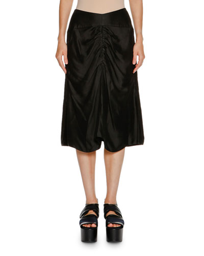 Ruched-Front A-Line Skirt, Black