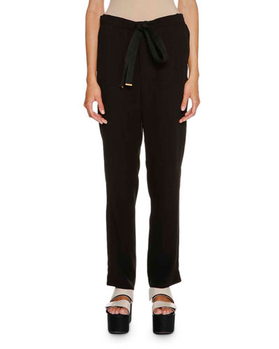 Tie-Waist Straight-Leg Pants, Black