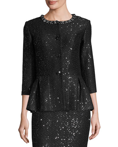 Sequined 3/4-Sleeve Peplum Jacket, Caviar