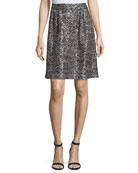 Painted Metallic Knit Skirt, Caviar