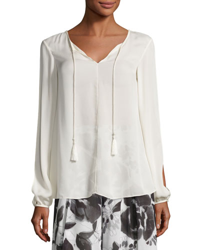 Slit-Sleeve Tie-Front Silk Blouse, Alabaster