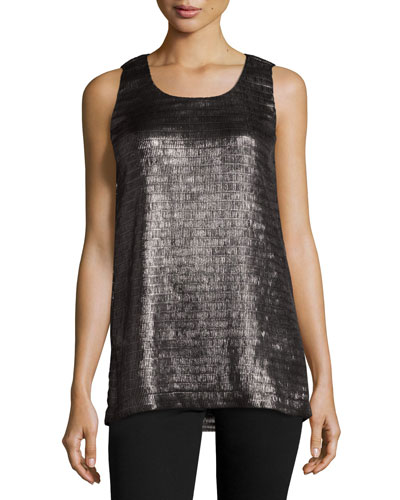 Metallic Net Jersey Scoop-Neck Tank, Pewter