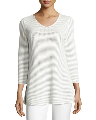 Perforated V-Neck Tunic, White