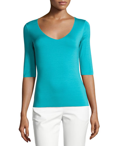 3/4-Sleeve V-Neck Tissue Tee, Azure