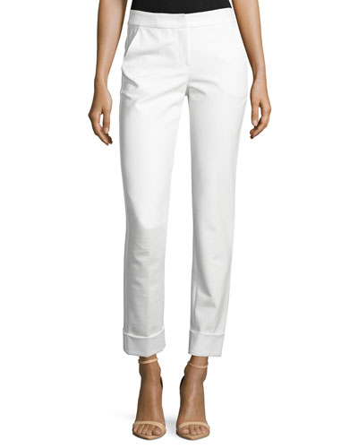 Front-Zip Wide-Cuff Ankle Pants, White