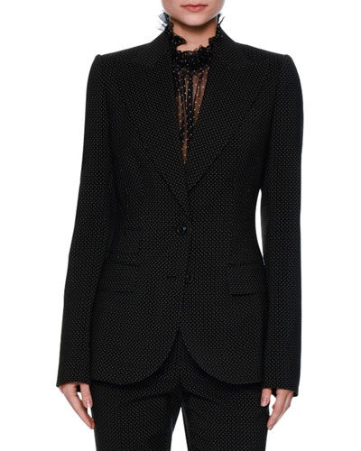 Turlington Micro-Dot Two-Button Jacket, Black/White