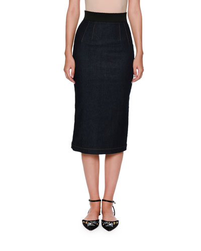 Denim Fishtail-Back Pencil Midi Skirt, Indigo