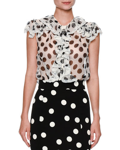 Ruffled Large-Dot Silk Blouse, White/Black