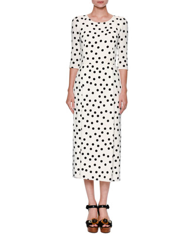 Polka-Dot 3/4-Sleeve Midi Dress, White/Black
