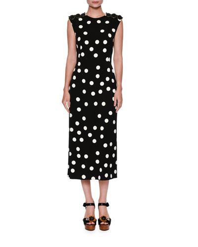 Half-Sleeve Lace-Trim Polka Dot Dress, White/Black