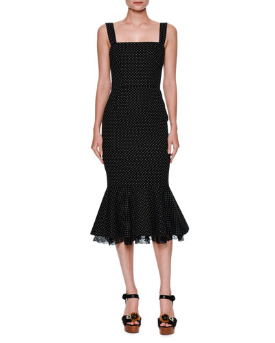Micro Polka Dot Flounce-Hem Cocktail Dress, Black/White