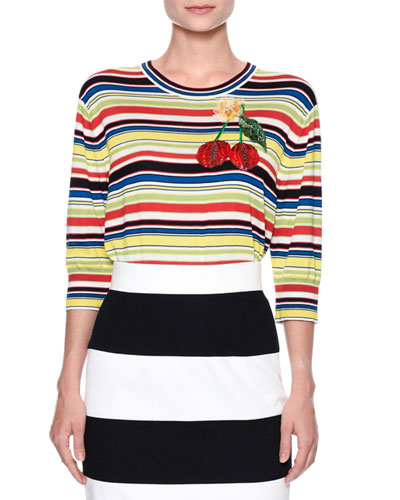 Cherry-Embroidered Striped Top, Multi