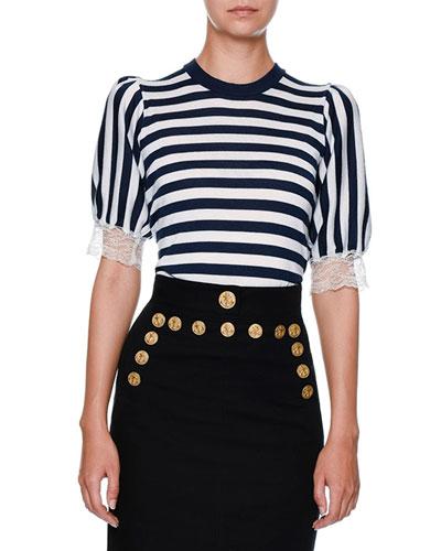 Striped Lace-Trim Cardigan, Navy/White