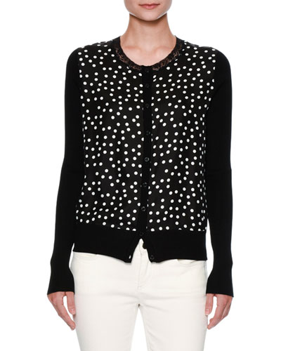 Lace-Trim Polka-Dot Cardigan, Black/White