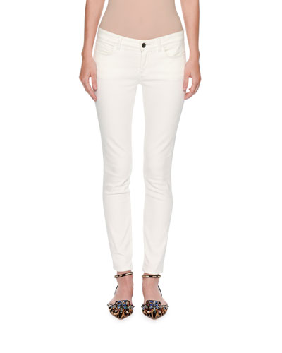 Pineapple-Pocket Skinny Jeans, White/Gold