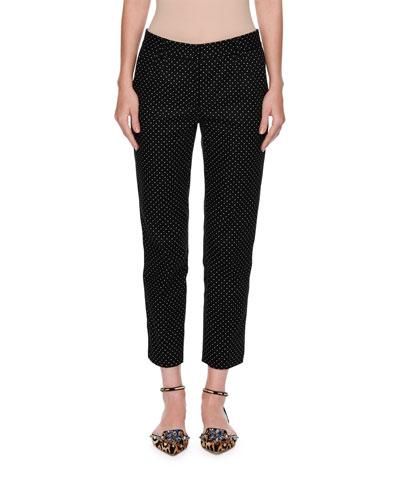 Micro-Dot Slim-Leg Ankle Pants, Black/White
