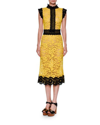 Two-Tone Floral Lace Cocktail Dress, Yellow/Black