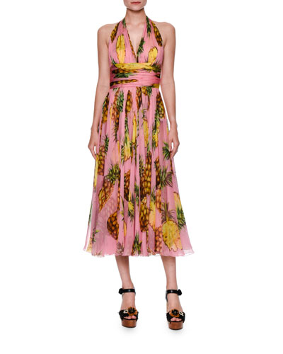 Pineapple-Print Halter Dress, Bright Pink/Yellow