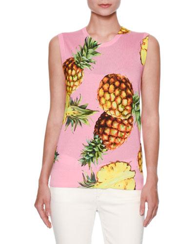 Sleeveless Pineapple-Print Shell, Pink