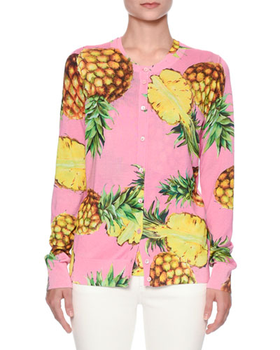 Pineapple-Print Crewneck Cardigan, Bright Pink/Yellow
