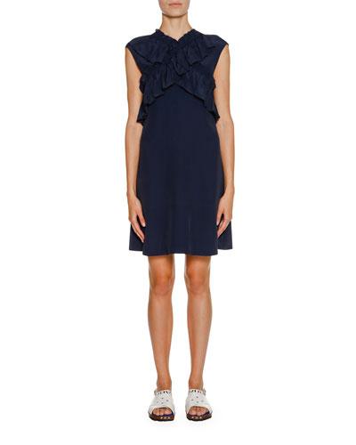 Sleeveless Ruffled Crisscross Dress, Light Navy