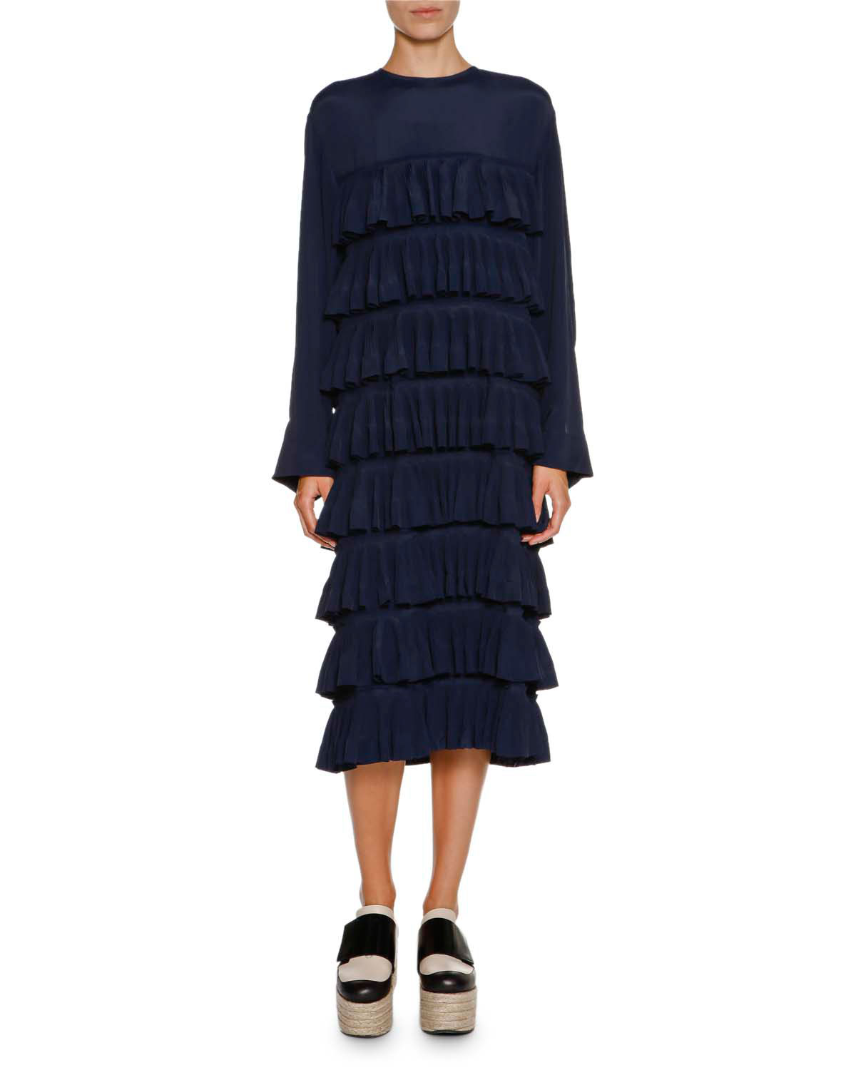 Long-Sleeve Ruffled Midi Dress, Light Navy