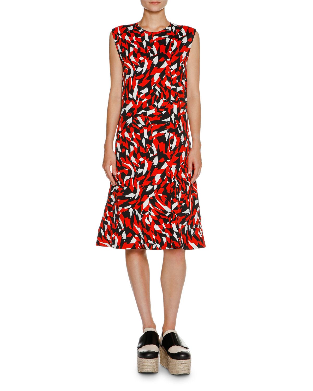 Shatter-Print Sleeveless Dress, Poppy Red