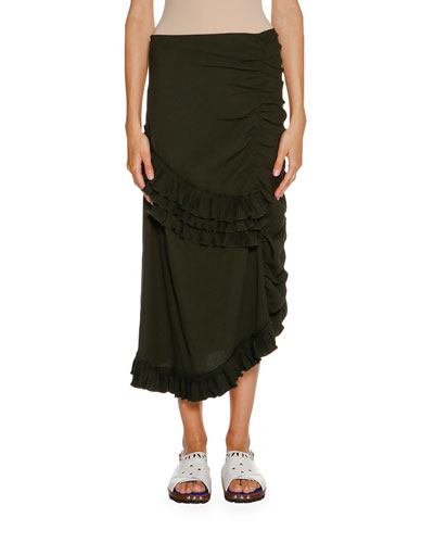 Ruched Ruffled Maxi Skirt, Glass Green