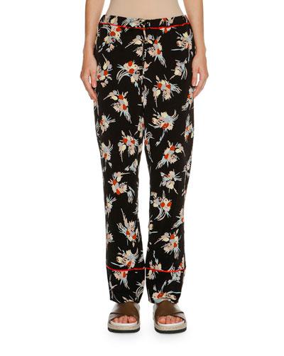 Floral Drawstring Pajama Pants, Black