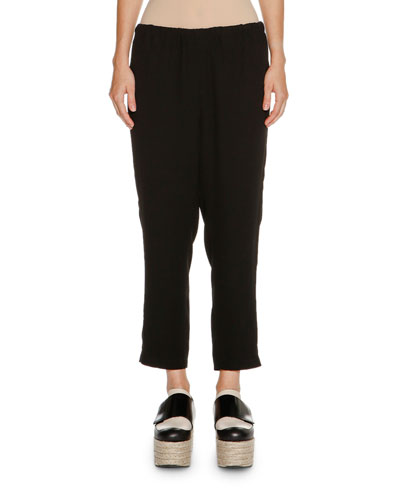 Pull-On Crepe Pants, Black