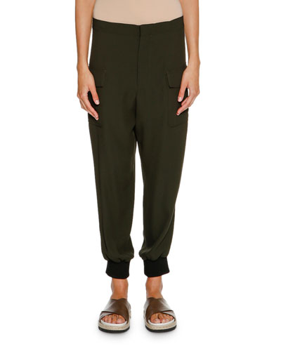 Crepe Cargo Jogger Pants, Glass Green