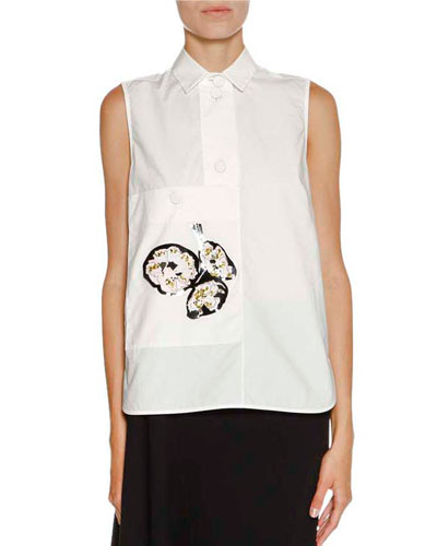 Floral Appliqué Sleeveless Blouse, Lily White/Multi
