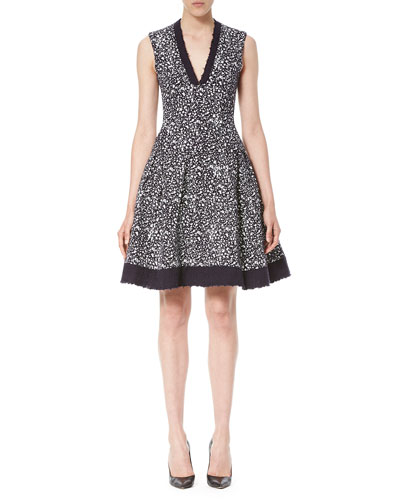 Sleeveless V-Neck Tweed Cocktail Dress, Navy/White